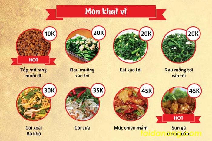 Món khai vị có giá dao động từ 10.000 đến 55.000